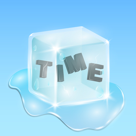 Frozen time in an ice cube. Black shiny text in 3d style. Continuation of the winter season. Time passes the cube melts and flows around in shiny drops and is surrounded by water