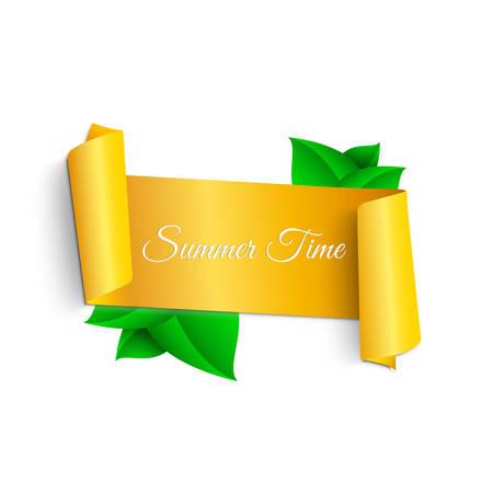 Realistisch, geel, kronkelend lint in zomerstijl met bladeren, planten en bloemen. Kamille bloemen. Heldere zomer illustratie. Voor webontwerp. witte achtergrond Stock Illustratie
