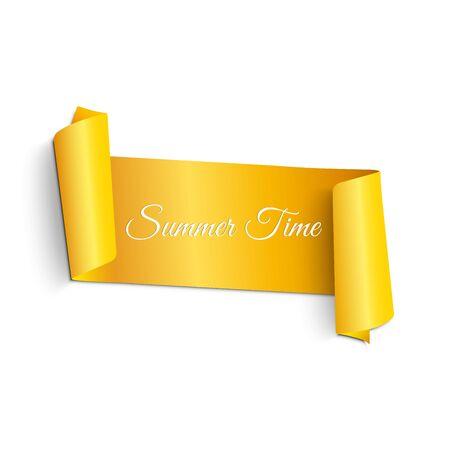 Realistisch, geel, kronkelend lint in zomerstijl. Banner voor tekst. Heldere zomer illustratie. Voor webontwerp. Witte achtergrond. Vakantie op een zomerse dag