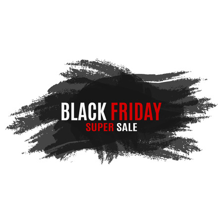 attrition: Black Friday super sale. Banner in the grunge style with white and red text. Place for your projects. Transparent overlay. For the web