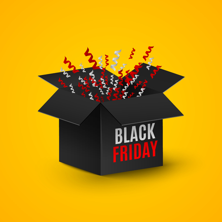 black Friday. A realistic black box on an orange background. Flashing tape, tinsel, candy, ornaments. Explosion of a dark box. A place for your projects. Red and white text on the box. Web illustration. Cyber Sale Year Illustration