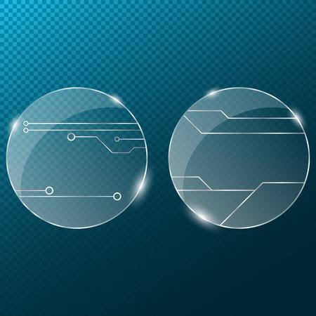 Circuit. Verre transparent rond sur un fond bleu transparent. Nouvelles technologies dans la conception. Banque d'images - 75948648