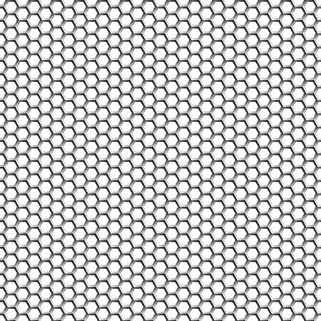 Hexagons. Background of light metal honeycombs. Transition of shades. Illustration
