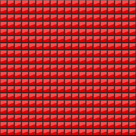 Abstract background of volumetric red squares. 3d illustration. A pattern of quadrangles with glitter. Even mosaic. Wallpapers for web sites