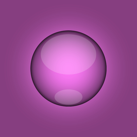 monophonic: Glossy 3d button purple on a monophonic background. Bulky button. vector illustration. Beautiful highlights. EPS 10
