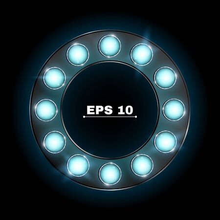 cinema screen: Illuminated round advertising banner made of blue neon bulbs. The theme of the casino and various show programs. Realistic vector illustration. Shining glass. Lamps are sparkling in the dark. EPS 10