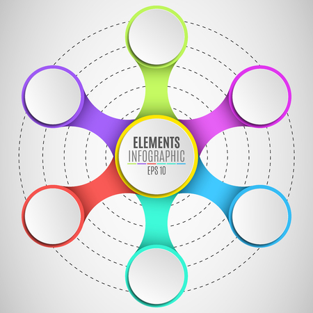 Infographic elements for your business projects. Empty, paper, three-dimensional circles in the style metaball. Multicolored connections. Vector illustration in a flat style. EPS 10