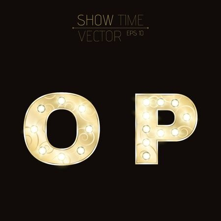 Gold letters O and P with sparkling light bulbs and a pattern. Alphabet for presentations and shows. Realistic vector illustration in 3d style. EPS 10 Vetores
