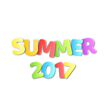 the inscription: Paper multicolored text with the name summer 2017. Summer pattern. Vector illustration in a flat style. EPS 10 Illustration