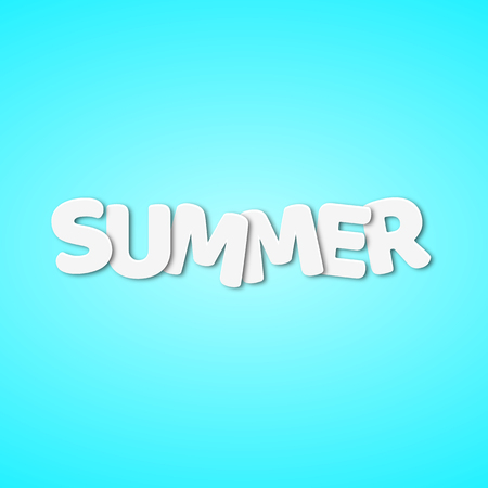 Paper white text with the name summer. White paper letters. Vector illustration in a flat style. Season of the year. EPS 10