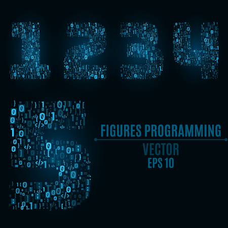 The blue numbers of the symbols and the programming elements. Numbers 1, 2, 3, 4, 5. Light glow. Binary code Vector illustration Illustration