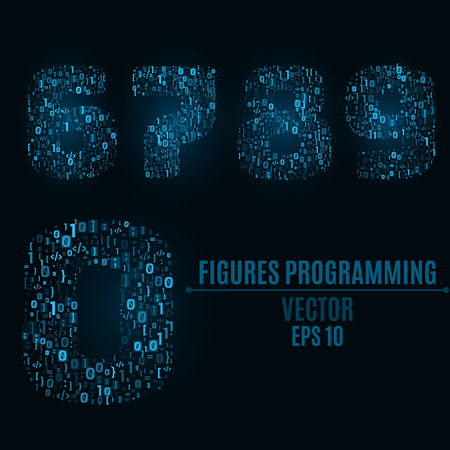 The blue numbers of the symbols and the programming elements. Numbers 6, 7, 8, 9, 0. Light glow. Binary code Vector illustration