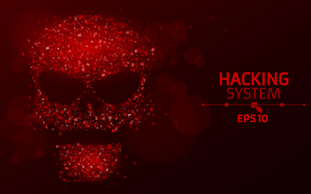 Hacking system. Abstract, luminous skull of red color from programming symbols. Hexadecimal number system. The data is under threat. Vector illustration. EPS 10 Illustration