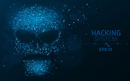 ddos: Hacking system. An abstract, luminous skull of blue color from a binary code. The data is under threat. Dust from the programming symbols. Vector illustration. EPS 10
