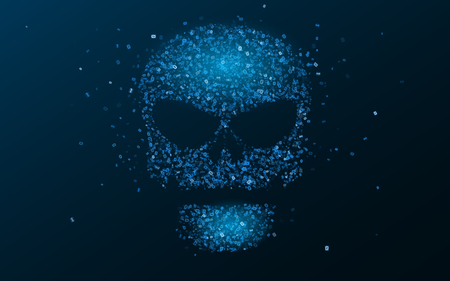 Hacking system. An abstract, luminous skull of blue color from a binary code. The data is under threat. Hi-tech and programming. Vector illustration. EPS 10 Illustration