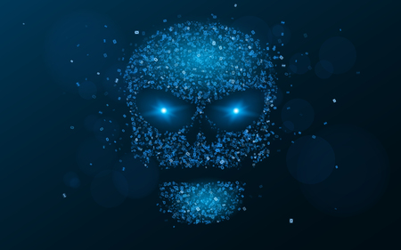 ddos: Hacking system. An abstract, luminous skull of blue color from a binary code. The data is under threat. Hi-tech and programming. Flaming, neon eyes. Vector illustration. EPS 10