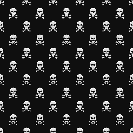 Abstract background. A pattern on a black background from light gray skulls. Wallpapers for your projects. Danger and threat. Vector illustration. EPS 8
