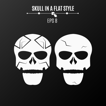 esp: Abstract skulls of white color on a black background. Strict pattern and cracks. Vector illustration. ESP 8