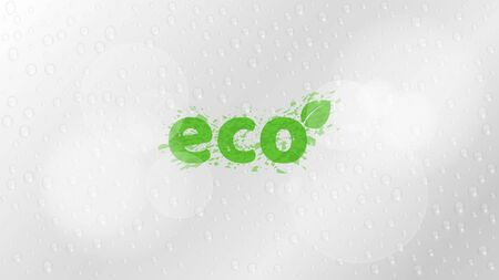 Ecological background. A stylish inscription in the style of grunge. Glare bokeh. Pure ecology and nature. Clean and fresh drops of water. Vector illustration. ESP 10