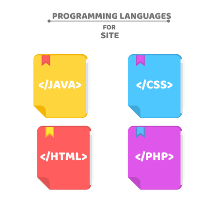 A pattern from programming languages. Colorful books. Colorful background for your projects. Php, html, java, css. Vector illustration in a flat style. EPS 8