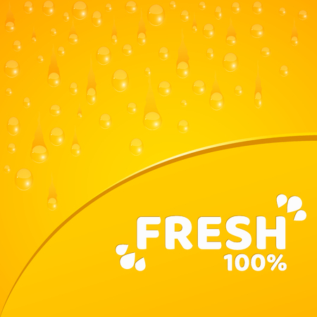 Orange background, template for your projects. 100 percent freshly squeezed orange juice. Water drops. Rounded notch. Vector illustration for your projects