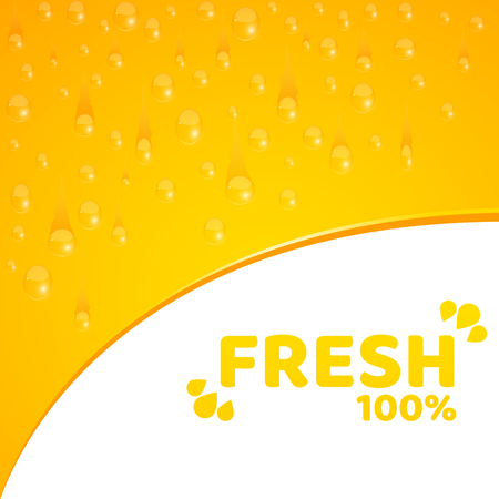 Orange background, template for your projects. 100 percent freshly squeezed orange juice. Flowing drops of water. Rounded notch. Vector illustration for your projects. EPS 10