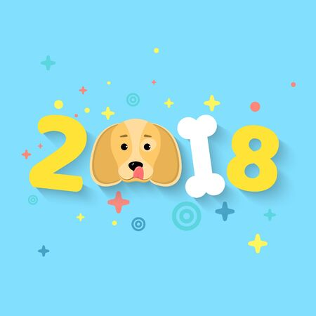 dog: Happy New Year 2018. The year of the yellow earth dog. The numbers are chaotic. White bone. The falling shadow. Vector illustration in a flat style