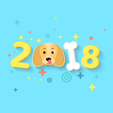 dog: Happy New Year 2018. The year of the yellow earth dog. Figures of chaotic size in 3d style. White bone. The falling shadow. Vector illustration in a flat style Illustration