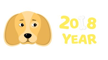 Happy New Year 2018. The year of the yellow earth dog. Beautiful figures. Isolated on white background. White bone. The falling shadow. Vector illustration in a flat style