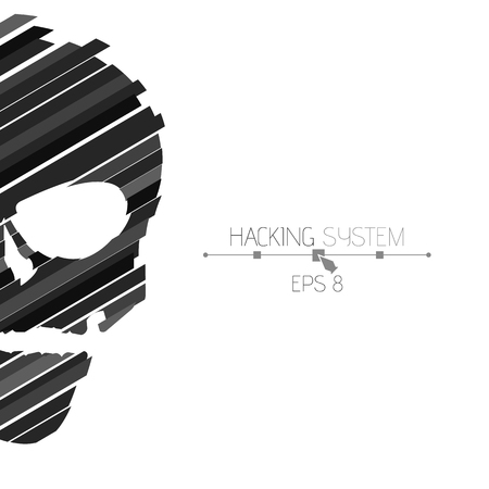 ddos: Hacking hacking system. Half of the skull sideways on a white background. The destroyed skull from the black strips. The effect of destruction. Abstract vector illustration. EPS 8. Illustration