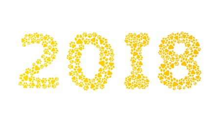 2018 year of the earth dog. Figures from the dog tracks. Traces of a yellow dog isolated on white background. Vector illustration in a flat style