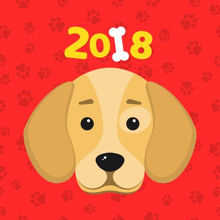 Happy New Year. The year 2018 is a yellow earth dog. A lovely cartoon dog looks. Cartoon figures. Red pattern from the tracks. Cover for the calendar. Vector illustration in a flat style Illustration