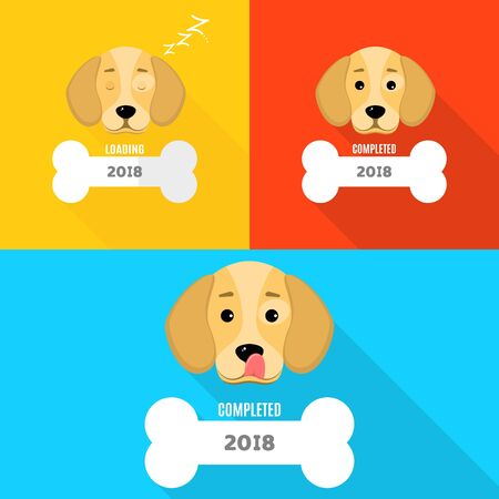 2018 year. The window is loaded in the form of a bone. The dog is asleep. A sweet dog licks himself. Cover for your projects. Year of a dog. Vector illustration in a flat style Illustration