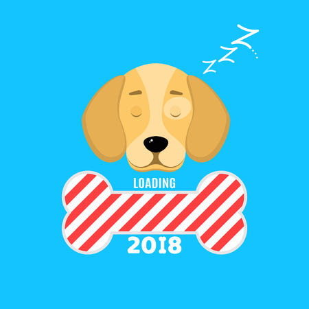 2018 year. The window is loaded in the form of a bone. A sweet dog is sleeping. Cover for your projects. Year of a dog. Vector illustration in a flat style