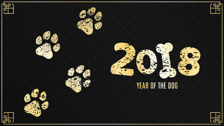 The year 2018 is a yellow earth dog. Golden traces in grunge style on a black background with a pattern. Chinese New Year. Cover for the project. Vector illustration