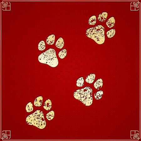 Year of the dog. Golden traces in grunge style on a red background with a pattern. Chinese New Year. Cover for the project. Illustration
