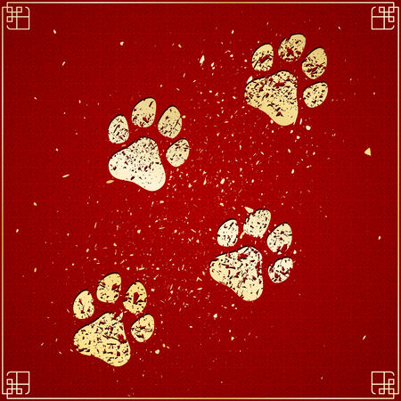 dog: Year of the dog. Golden traces in grunge style on a red background with a pattern. Chinese New Year. Cover for the project. Gold dust. Vector illustration