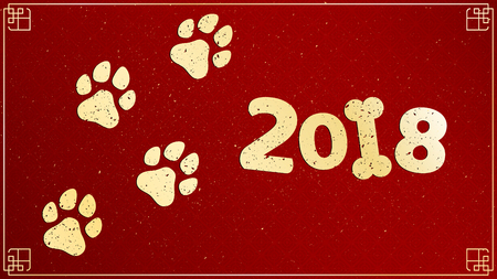 Year of the dog. Golden traces in grunge style. Gold dust on a red background with a pattern. Chinese zodiac. The symbol of the year. Vector illustration Illustration
