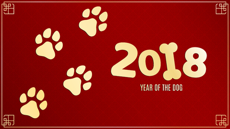 The new year 2018 of the dog. Golden traces in grunge style. Numbers on a red background with a pattern. Chinese zodiac.