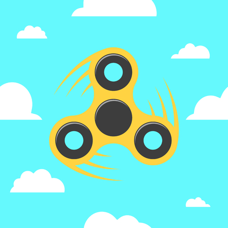 Spinner in a flat style. The yellow spinner turns against the blue sky. Flat, white clouds. A modern antistress toy for recreation. Play with your fingers. Vector illustration Illustration