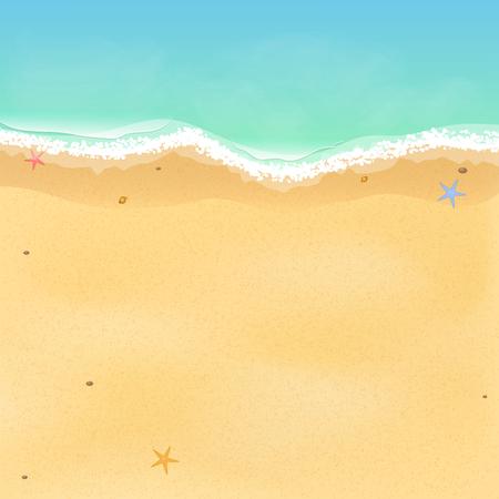 夏の時間。海の星と貝殻のエキゾチックな空のビーチの平面図です。あなたのプロジェクトのための場所。波と泡立つ海。ベクトルの図。EPS 10