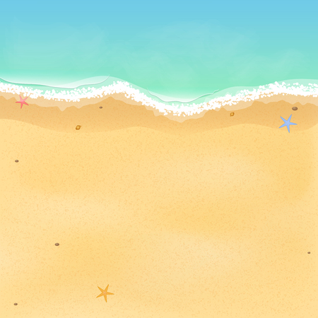 Summer time. Top view of an exotic empty beach with sea stars and seashells. A place for your project. A foamy sea with waves. Vector illustration. EPS 10