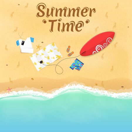 Summer time. On the beach are things, a surfboard and accessories. Cover for your project. Top view of the beach. Exotic zone of rest. Vector illustration. Beautiful text on the sand. EPS 10