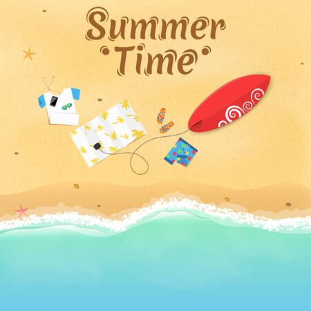 Summer weekend at the sea. On the beach are things, a surfboard and accessories. Cover for your project. Top view of the beach. Exotic zone of rest. Vector illustration. Text on the sand. EPS 10