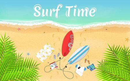 Summer, exotic vacation at sea Vector illustration Illustration