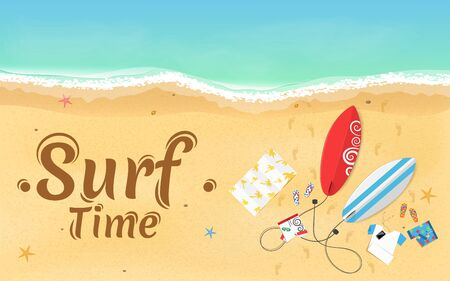 Time for surfing. On the beach are things, a surfboard and accessories. Summer weekend. Top view of the beach. Exotic zone of rest. Vector illustration. EPS 10