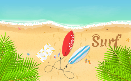 Summer time and favorite surfing. Surfboards, slippers and a towel lie on the beach. Beautiful text on the sand. A bright, sandy beach. Fresh leaves of a tropical palm tree. Vector illustration. EPS 10