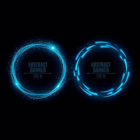 2 つの輝くネオン バナーが青いです。小さな粒子の動きでライトが光る。モートとライトを飛んでいます。Web 用バナー。ベクトルの図。EPS 10