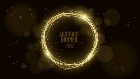 Luminous neon banner of gold color from woven strips. Shining lights in motion with small particles. Glare bokeh. Flying motes and lights. Banners for the web. Vector illustration. EPS 10 Иллюстрация