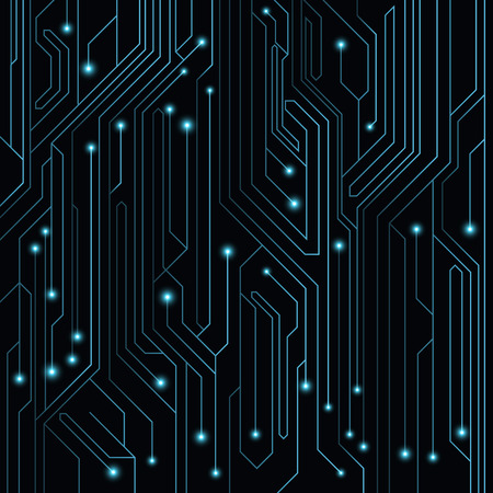 leds: High-tech background of blue color from a computer board with LEDs and luminous neon connectors. Computer circuit. Vector illustration. EPS 10